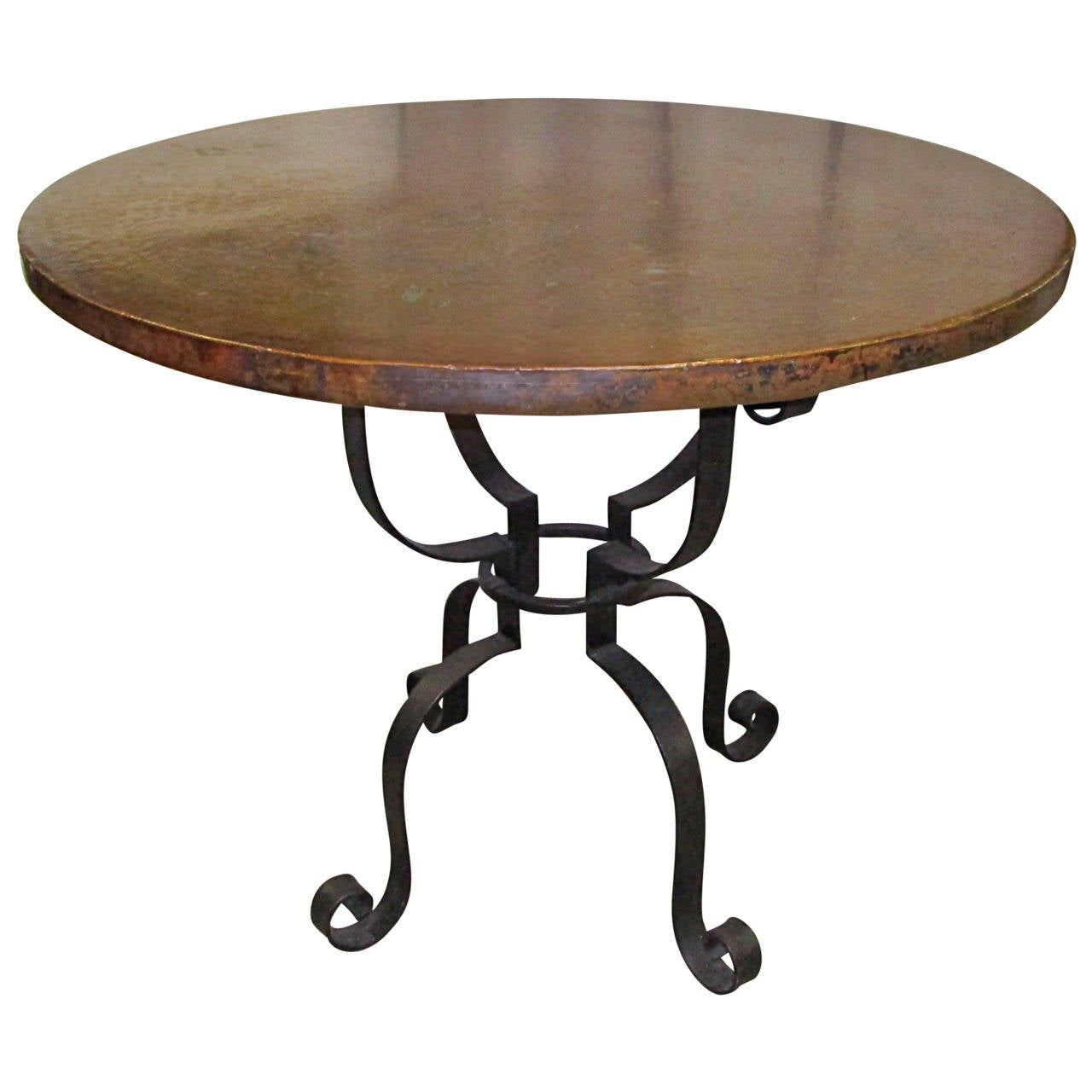 Hammered Copper and Forged Steel Occasional Table