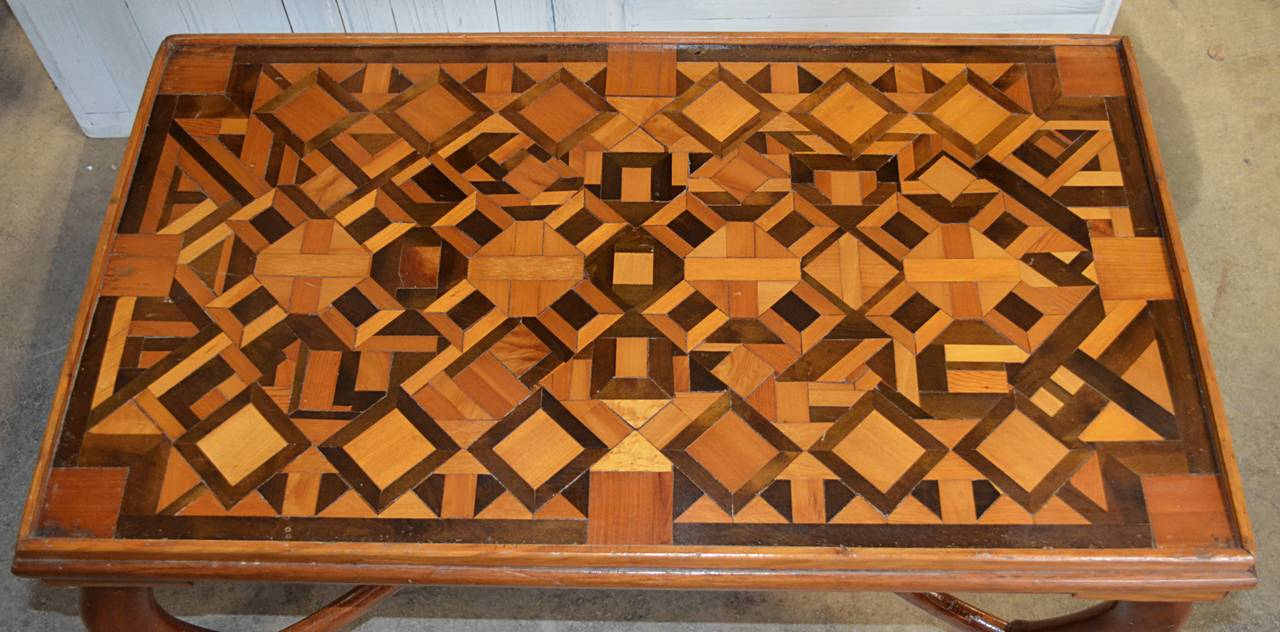 American Folk Art Parquetry Occasional Table 5