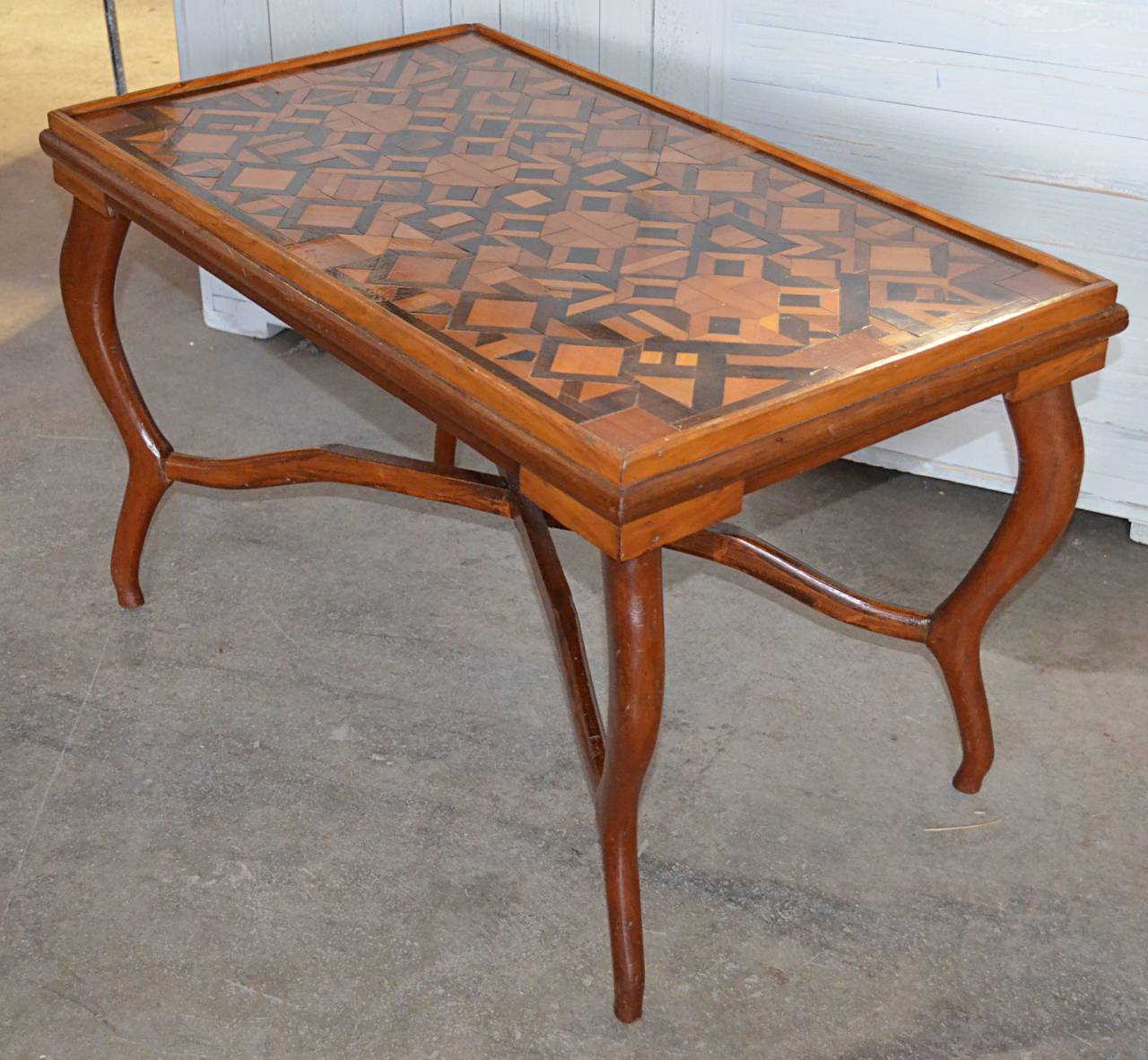 American Folk Art Parquetry Occasional Table 2