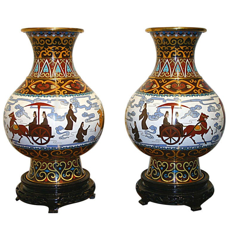 Pair chinese cloisonne urns on stand at 1stdibs for Cloison stand