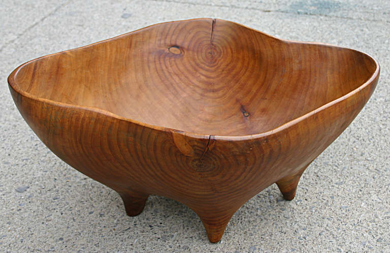 Wooden Dining Bowls ~ Studio craft carved wooden biomorphic footed bowl at stdibs