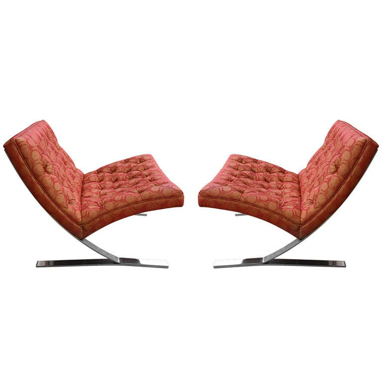 Pair Chrome Cantilever Lounge Chairs