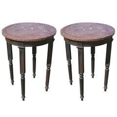Pair of Marble Top Tall Tables
