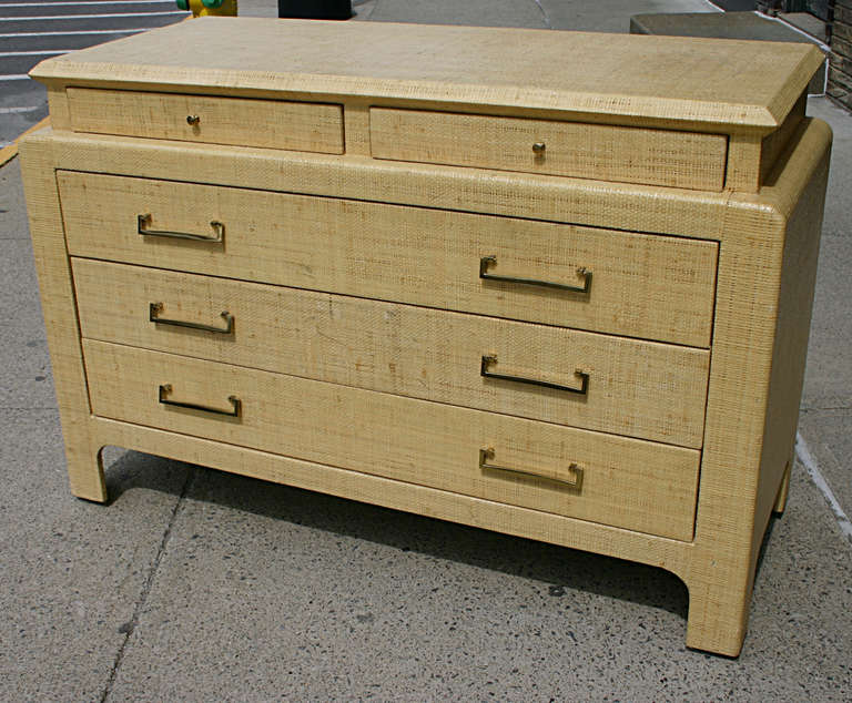 Gr Cloth Lacquered Dresser For A Well Proportioned Chest Of Drawers Consisting 2 Thin Over 3 Long