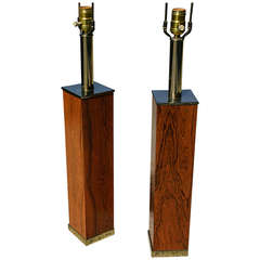 Pair of Rosewood and Brass Table Lamps