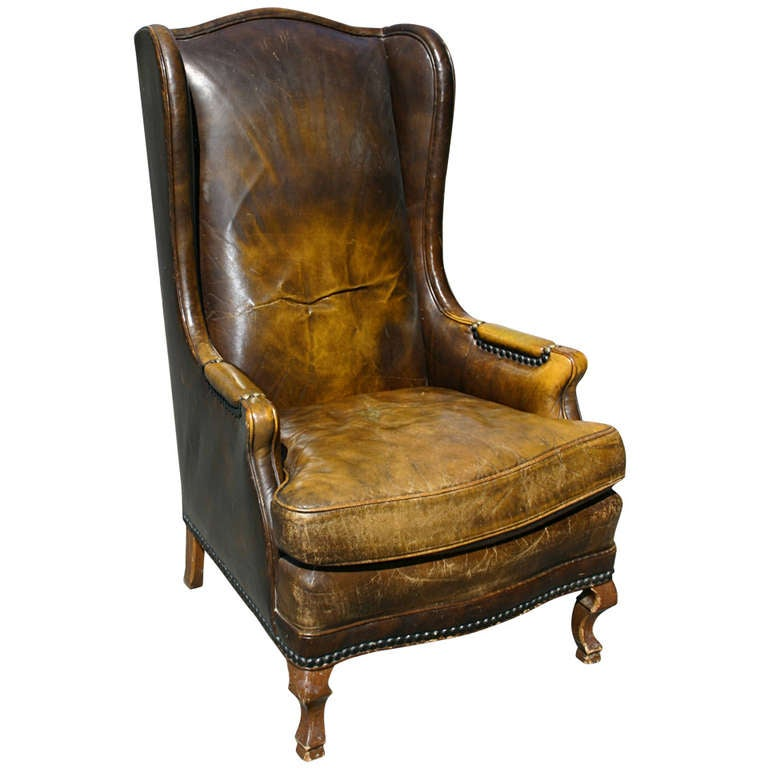 High leather wingback chair at 1stdibs for Wingback chair