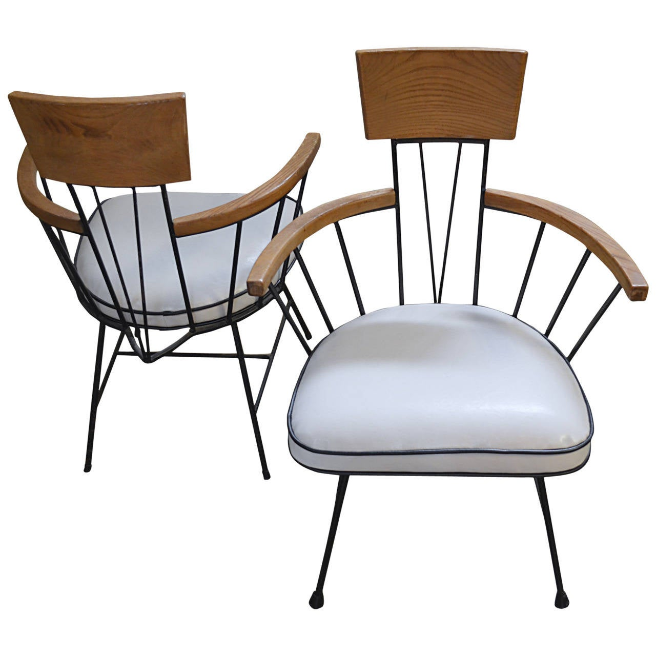 Set Of Four Iron And Ash Arm Chairs By Richard Mccarthy
