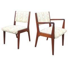 Jens Risom Walnut Dining Chairs, Set of Six