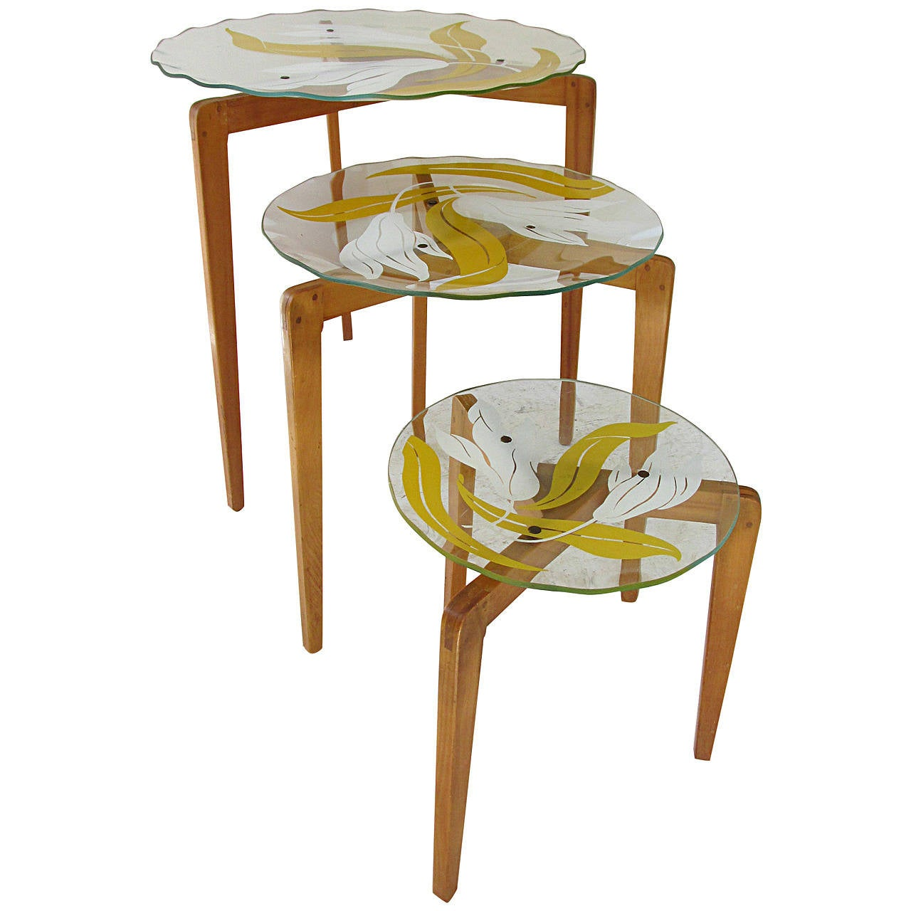 Glass top nesting tables at 1stdibs for Glass top nesting tables