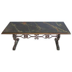 Spanish Revival Faux Marble and Iron Console Table
