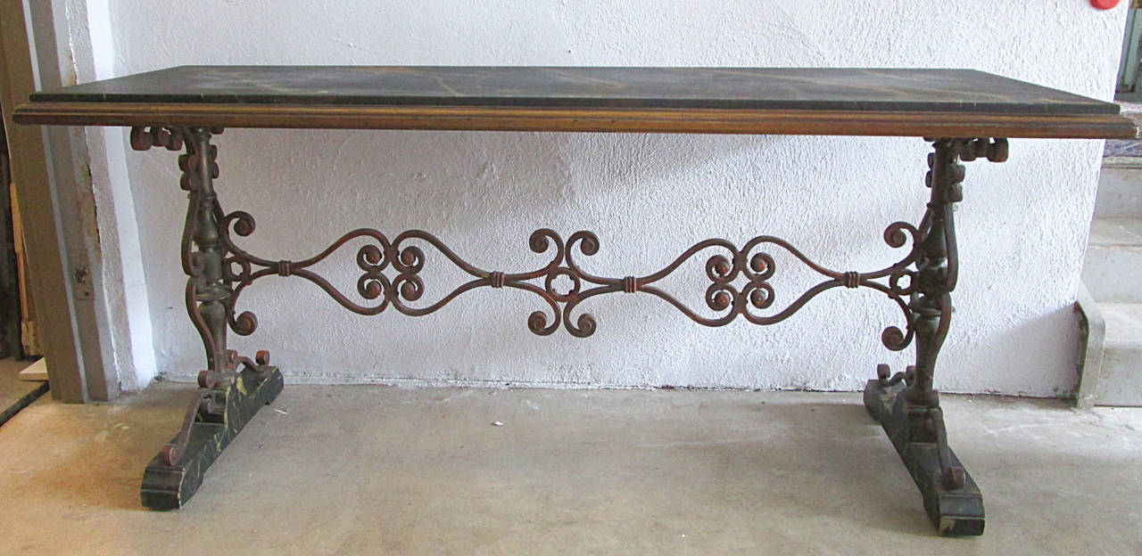 A Double Pedestal Console In The Spanish Revival Taste Of The Early 20th  Century. The