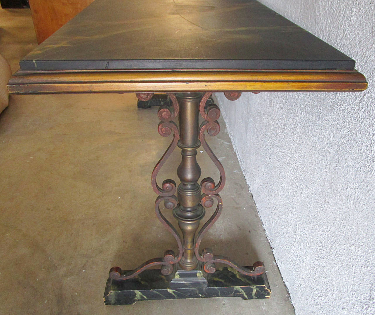Spanish Revival Faux Marble and Iron Console Table In Good Condition For Sale In Hudson, NY