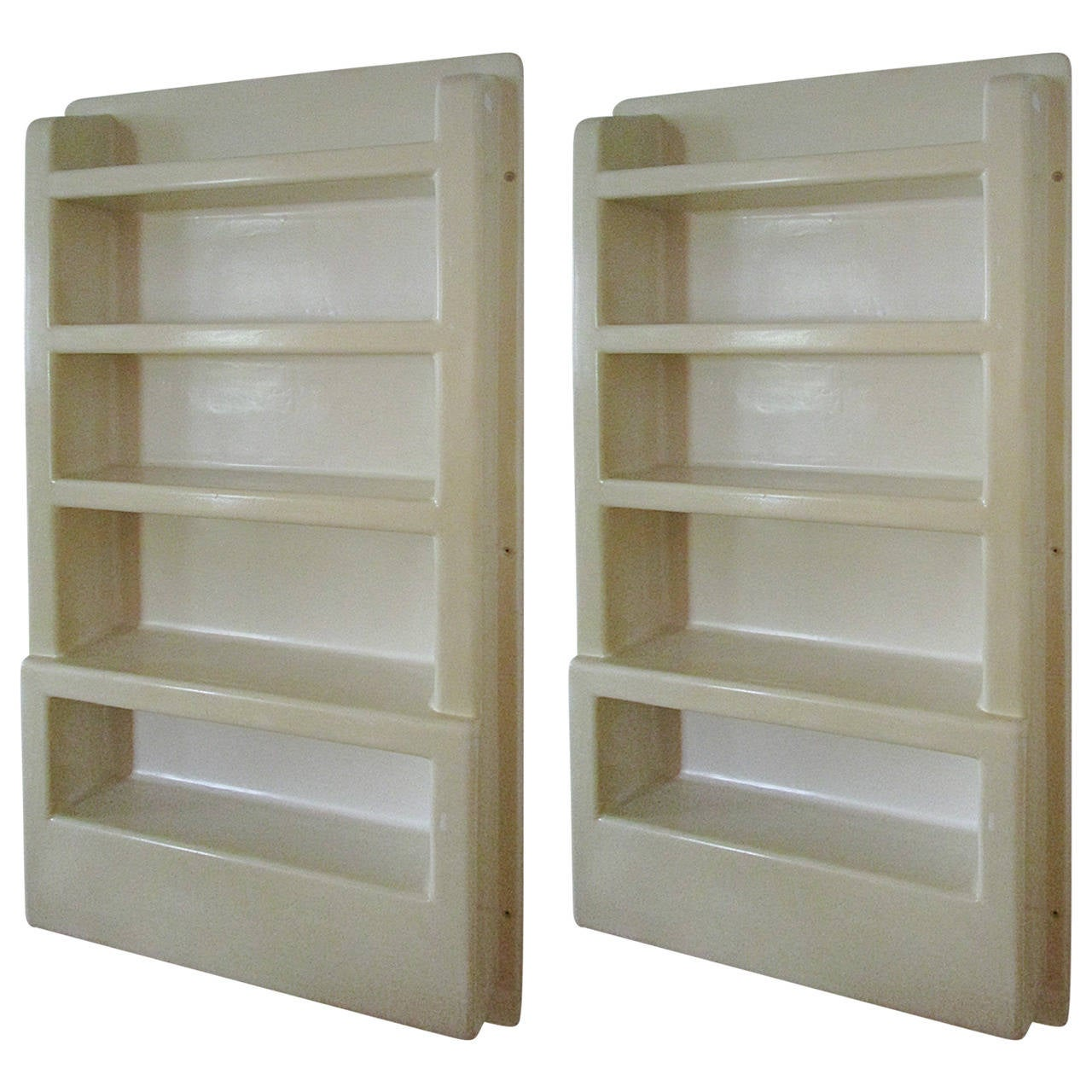Pair Of Wall Mounted Molded Plastic Shelf Units For