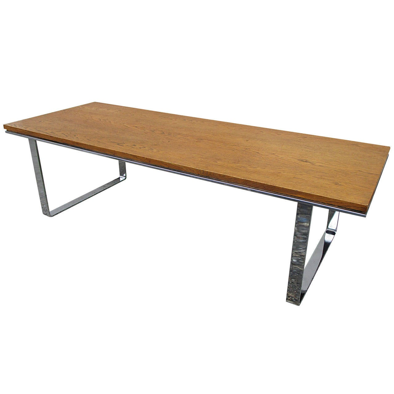 Flat Bar Chrome And Oak Coffee Table At 1stdibs