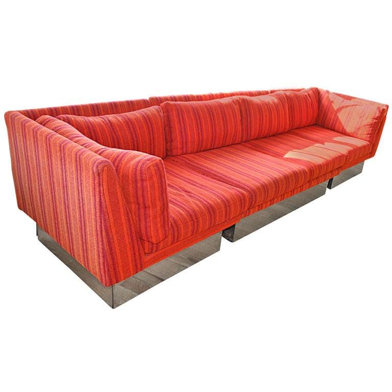 Three piece sectional sofa milo baughman for thayer coggin for 3 piece sectional sofa