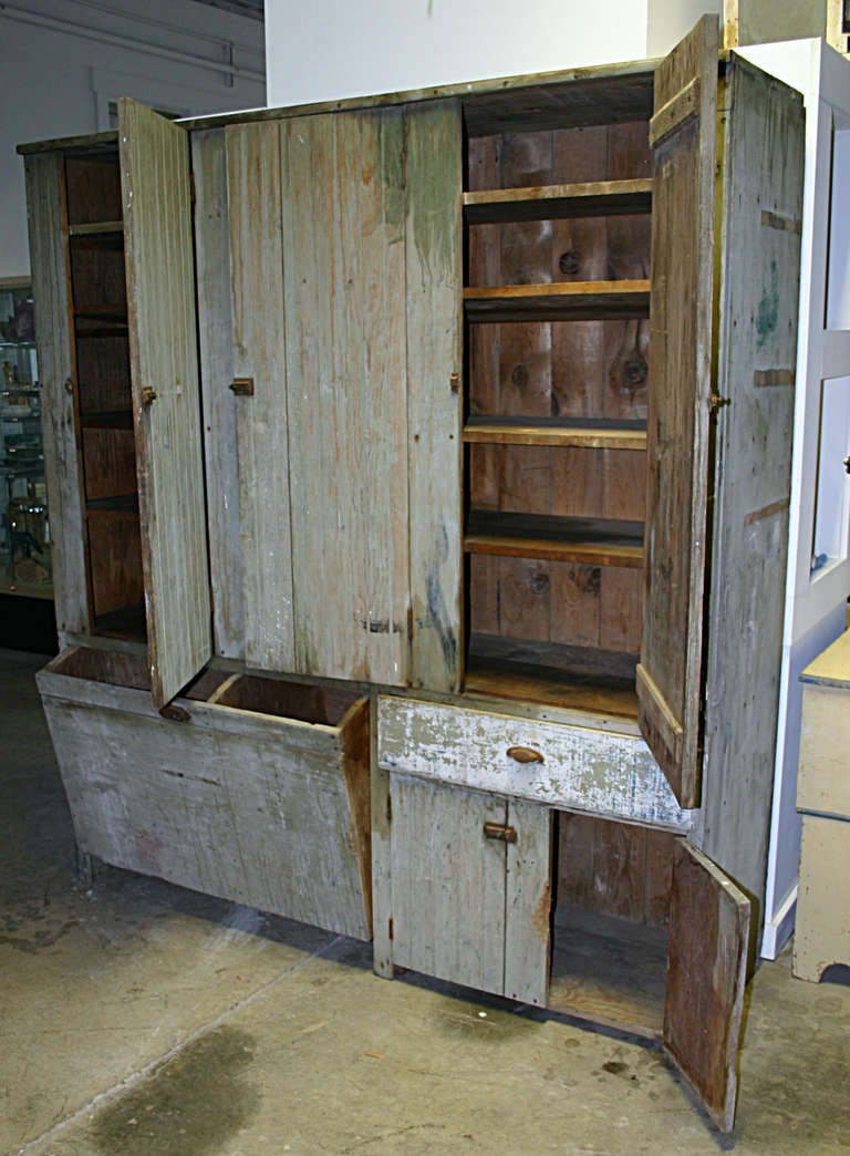 Wood Grain Storage : General store beadboard cupboard with grain bin at stdibs