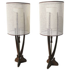 Walnut and Brass Large Sculptural Table Lamps