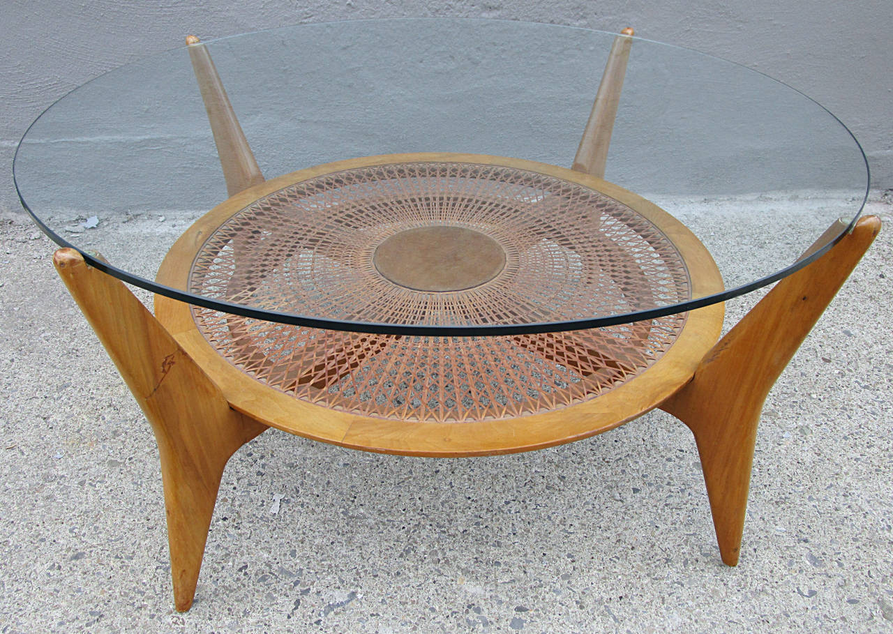 Mid Century Walnut And Glass Cocktail Table With Caned Shelf At 1stdibs