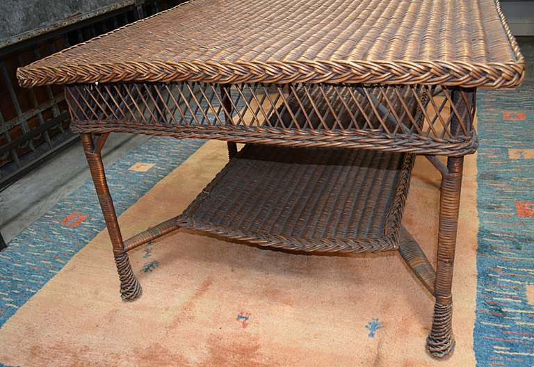 Reed and wicker table with shelf at 1stdibs for Wicker reed