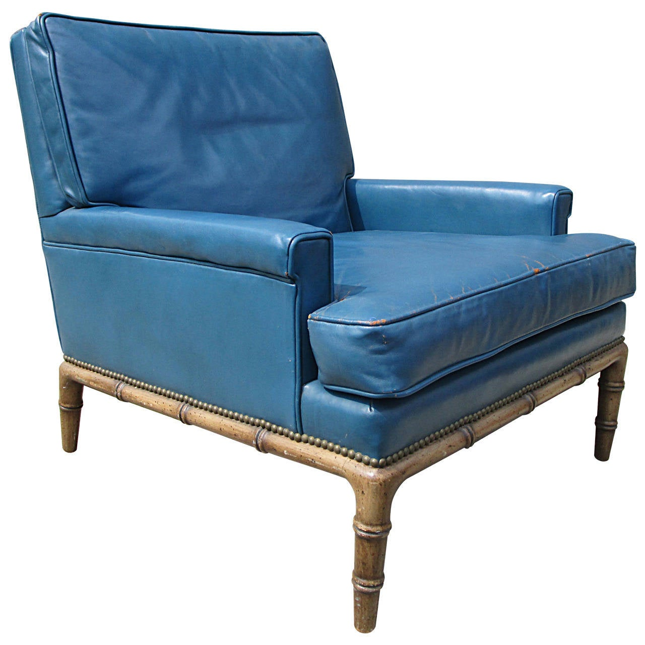 Blue Leather Club Chair by Erwin-Lambeth
