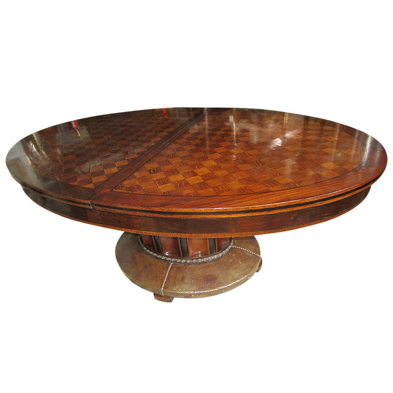 Oval Parquetry Dining Table with Hammered Copper Base by De Coene Freres