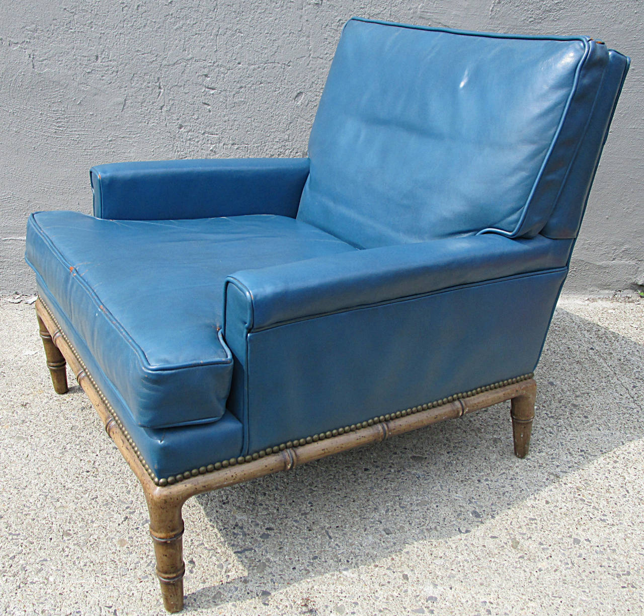 Lovely Blue Leather Club Chair By Erwin Lambeth 3
