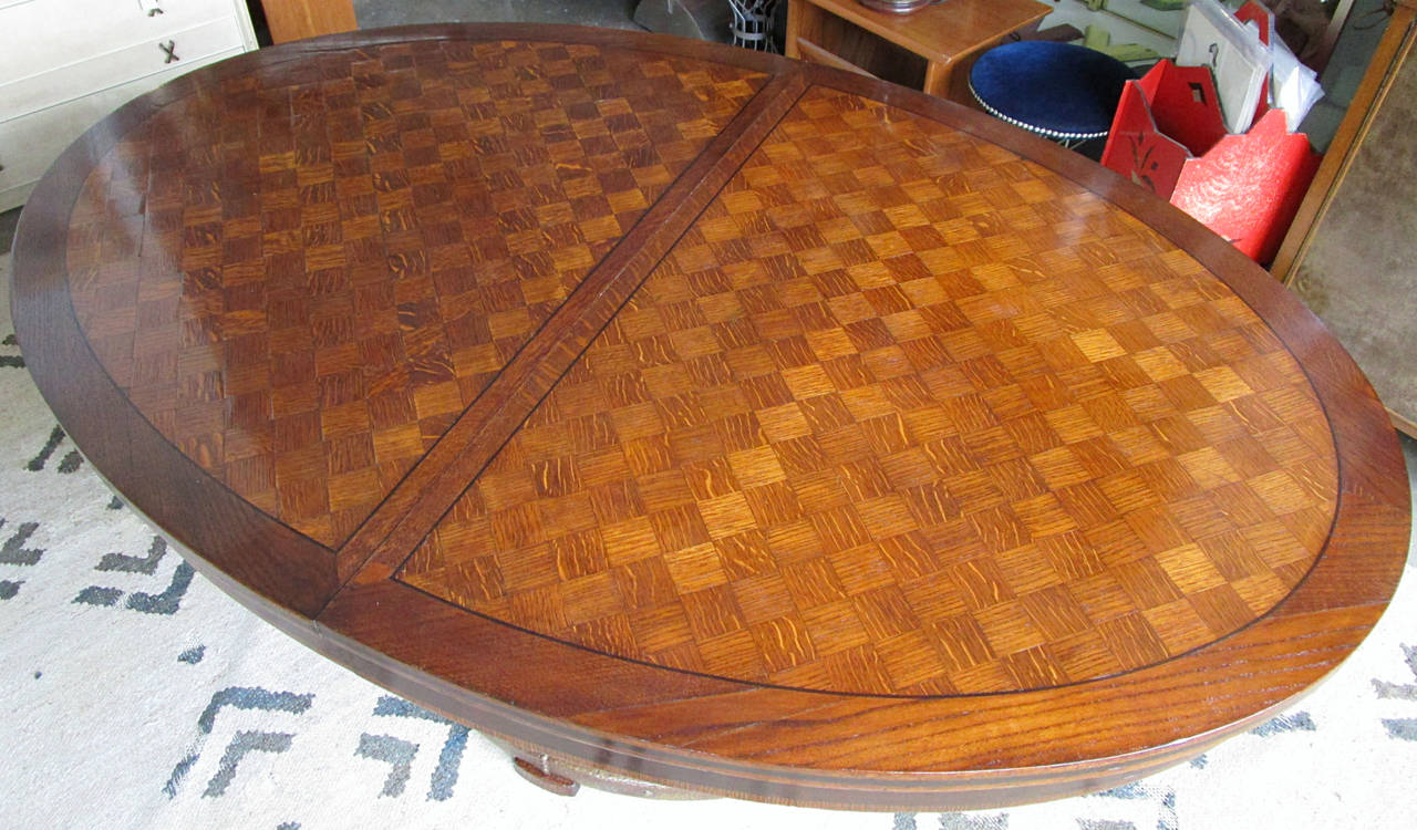 Art Deco Oval Parquetry Dining Table with Hammered Copper Base by De Coene Freres For Sale