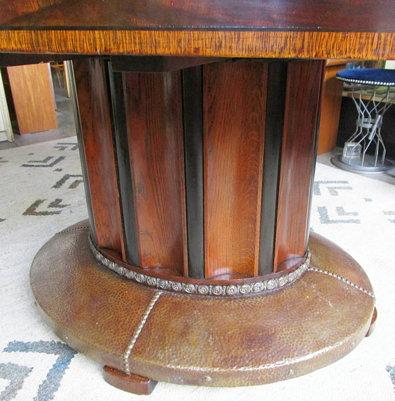 Oval Parquetry Dining Table with Hammered Copper Base by De Coene Freres In Excellent Condition For Sale In Hudson, NY