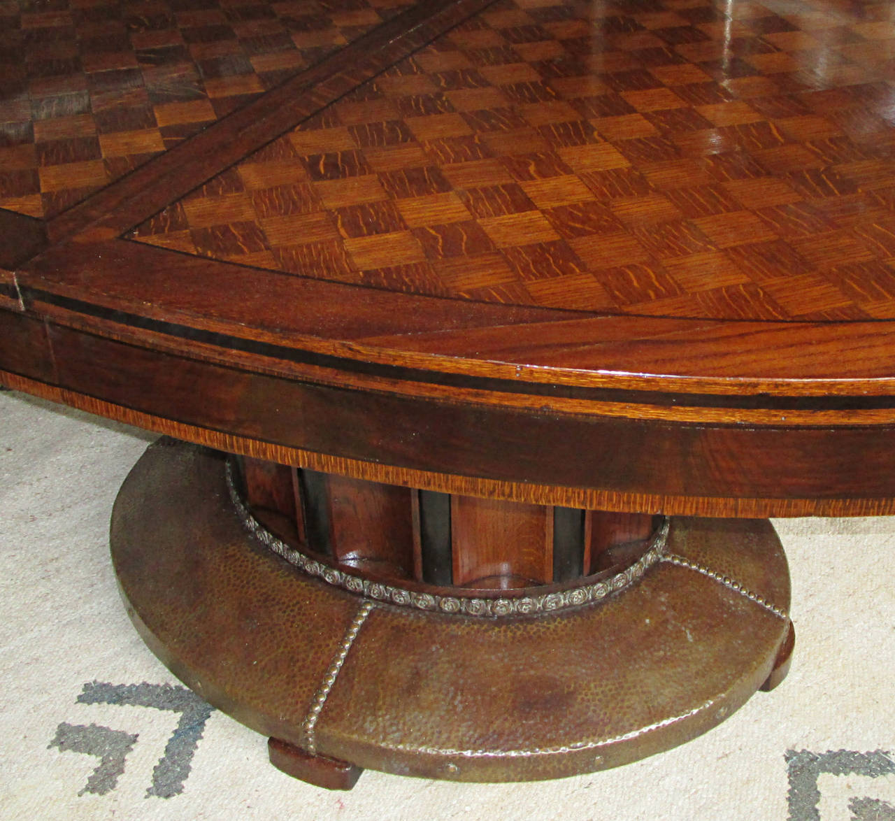 20th Century Oval Parquetry Dining Table with Hammered Copper Base by De Coene Freres For Sale