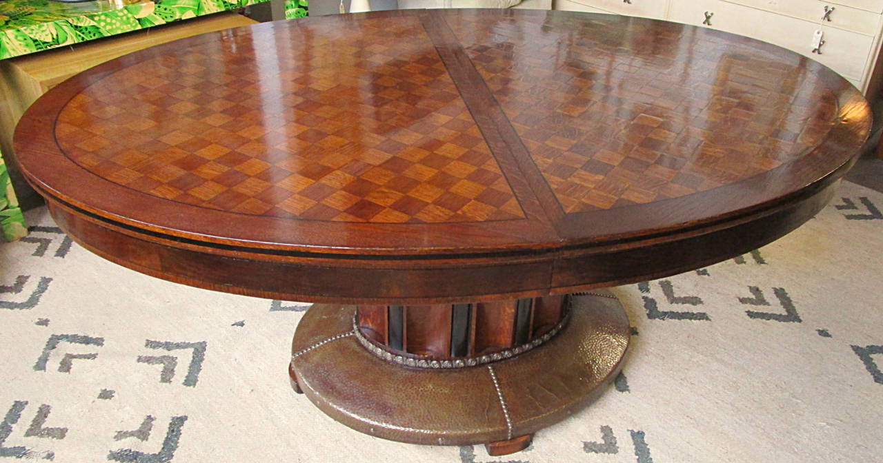 Oval Parquetry Dining Table with Hammered Copper Base by De Coene Freres For Sale 5