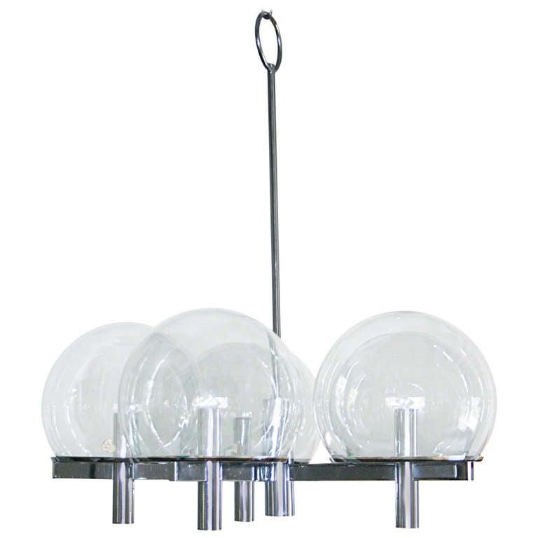 Five Arm Chrome Chandelier with Smoked Glass Globes by Gaetano Sciolari