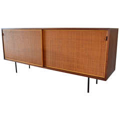 Florence Knoll Walnut and Cane Credenza