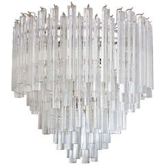 Mid Century Camer and Venini Five Tier, Crystal Chandelier