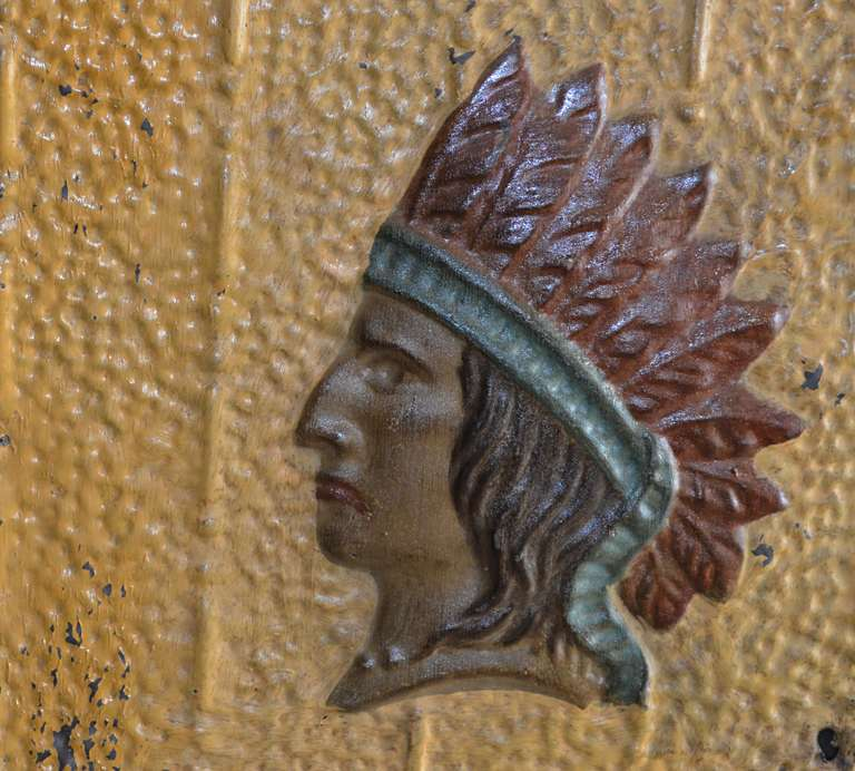 Pressed Tin Panel With Indian Chief Motif At 1stdibs