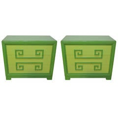 Pair of Kittinger Two Tone, Greek Key Chests