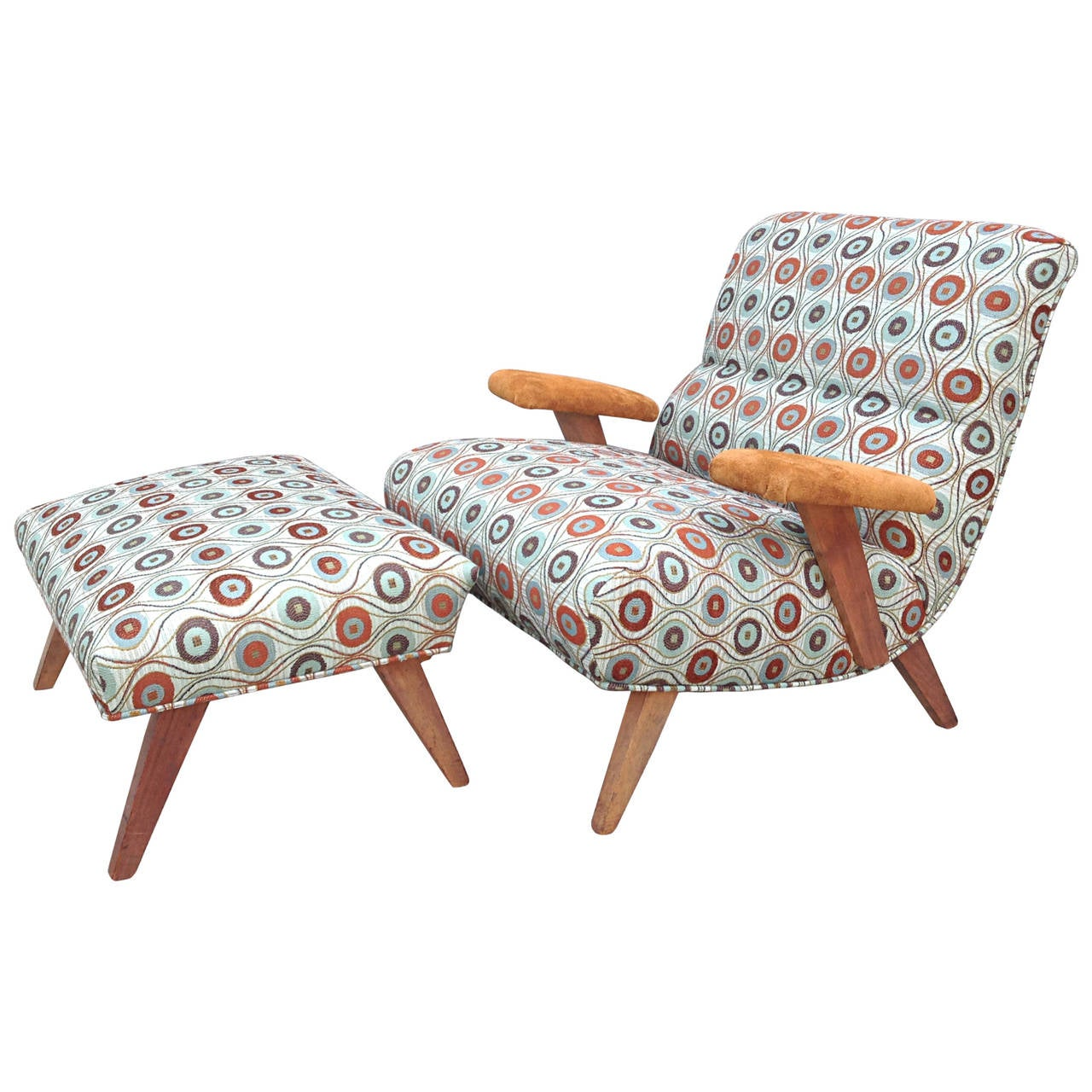 1940s Scoop Lounge Chair and Ottoman