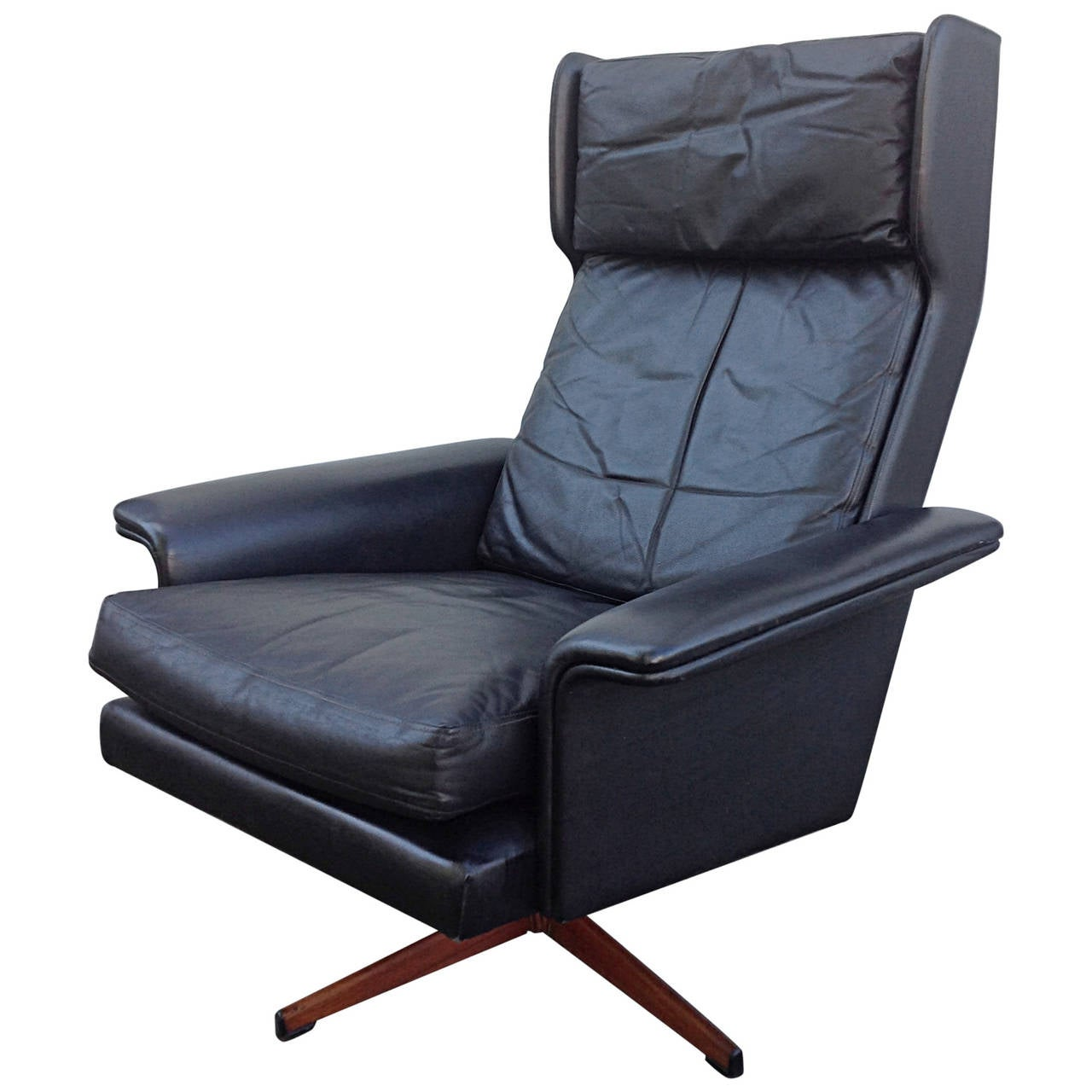 Black Leather Wingback Swivel Chair by Komfort at 1stdibs