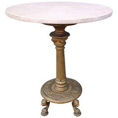 Marble-Top Iron Pedestal Table with Paw Feet