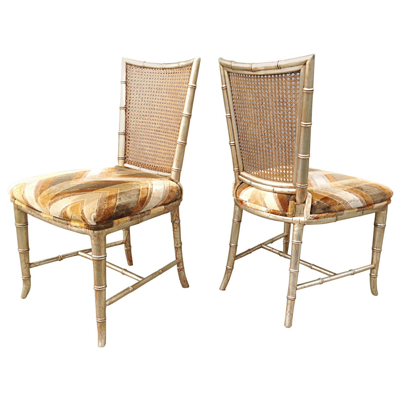 Set of Six Silvered Faux Bamboo Caned Back Dining Chairs