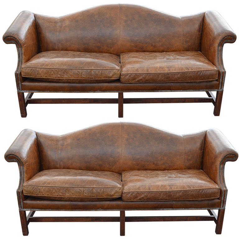 Pair Of Leather Chippendale Style Sofas At 1stdibs