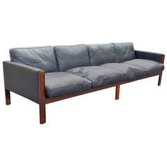 Solid Rosewood Frame and Leather Sofa