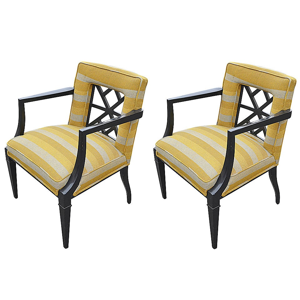 Pair Of Hollywood Regency Armchairs Attributed To Grosfeld House At 1stdibs
