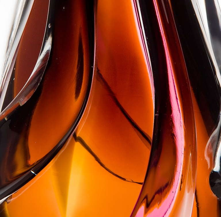 Hand-Crafted Flame Vase, a pink, orange, auburn & clear unique glass vase by Nigel Coates For Sale