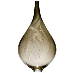Mariniere Vase, a unique bronze engraved glass sculpture by Heather Gillespie