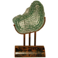 """Eclipsi De Lluna,"" Contemporary Iron and Glass with Green Writing Sculpture"