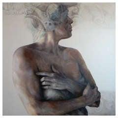 Female Figure Oil Painting on Wood by Macu Jorda