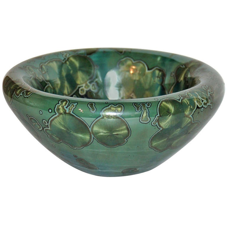 Jörg Baumöller Emerald Green Crystal, Glazed Porcelain, Double Wall Bowl