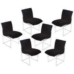 Set of Six Chrome and Mohair Dining Chairs by Milo Baughman for Thayer Coggin