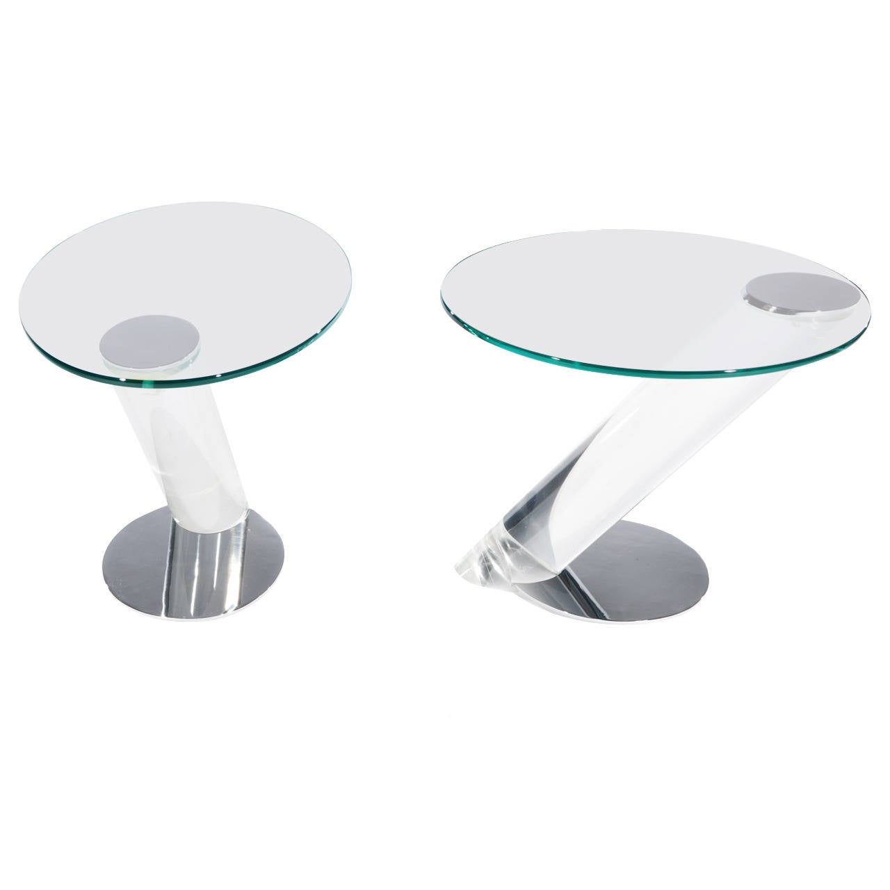 Murano gl floor lamp murano gl floor lamps 173 for at 1stdibs - Pair Of Lucite Chrome And Glass Side Tables By Lion In Frost 1