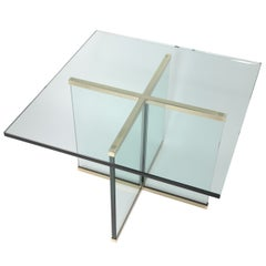 1970s Leon Rosen for Pace Collection Brass and Glass End Table